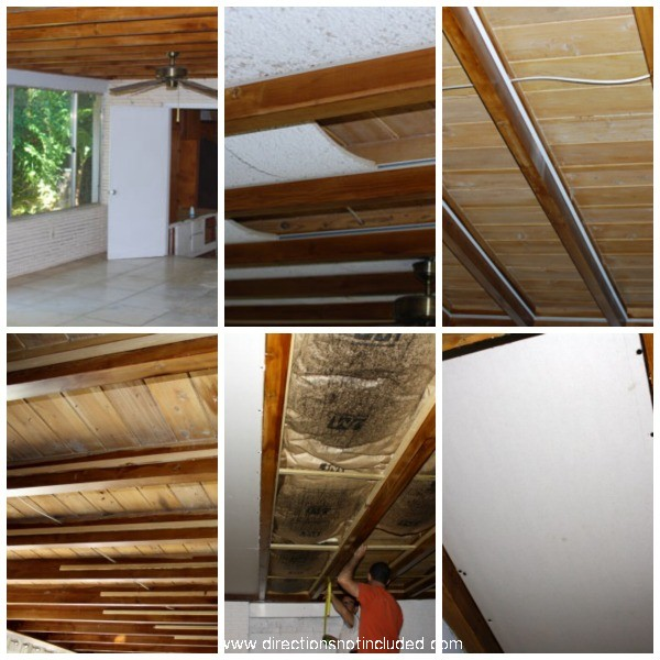 Exposed Beam Ceiling Before - Directions Not Inluded