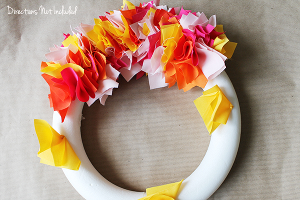 Colorful Fabric Wreath - Directions Not Included
